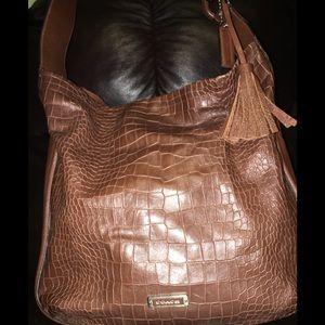Coach brown Crocodile embossed handbag